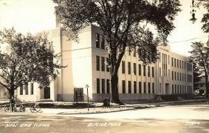 Alpena Michigan~New High School~Bicycles on Corner~1942 Varsity Board~RPPC