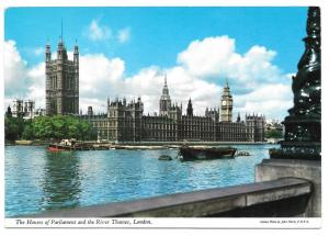 London Houses of Parliament Thames River John Hinde Postcard