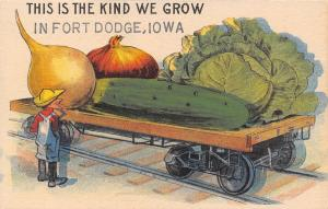 The Kind We Grow in Fort Dodge Iowa~Farmer~Exaggerated Veggies on RR Car~1914
