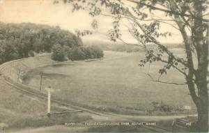 Belfast Maine 1949 Postcard Beaver Tail and Passagassawaukeag River, RR Tracks