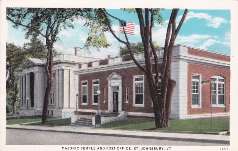 ST. JOHNSBURY, Vermont, 1910s-20s; Masonic Temple and Post Office