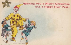 CHRISTMAS ; Clown Dancing with kids , 1901-07