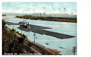 Pennsylvania  Pittsburg ,  Coal floats on the Ohio River