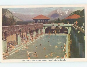 Pre-1980 SWIMMING POOL SCENE Banff Alberta AB AF2323