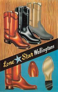 Advertising Post Card Wellingtons 126 Glass St. Dallas Texes Unused