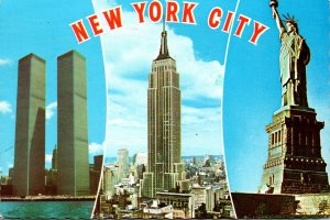 New York City Statue Of Liberty Empire State Building & World Trade Center 1978