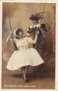 MISS DILLON & MISS VERA VERE-EDWARDIAN THEATRE ACTRESSES PHOTO POSTCARD