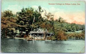 Ontario Canada Postcard Summer Cottage on Rideau Lakes w/ 1909 Cancel