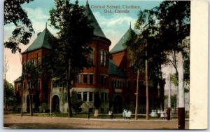 Chatham, Ontario Canada Postcard Central School Building / Street View c1910s