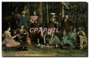 Old Postcard Life in the fields a picnic Peasants TOP Folklore Costumes Customs