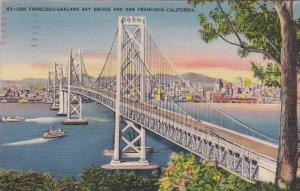 San Francisco Oakland Bay Bridge And Sun Francisco California 1944