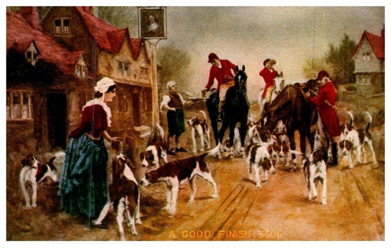 Dog  ,  A Good Finish , ( Fox Hunt )