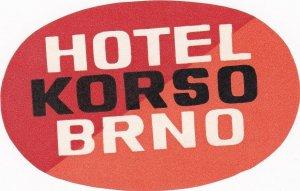 Czechoslovakia Brno Hotel Korso Vintage Luggage Label sk4436