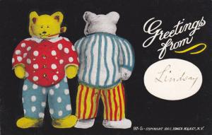 Greetings from, Teddy Bears in clothes, one showing front pipe in mouth, one ...