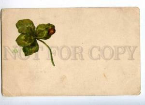 232174 RUSSIA MA leaf and ladybug Vintage Kadushin postcard