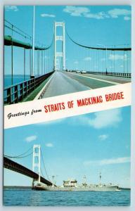 Postcard MI Banner Dual View Greetings From Straits Mackinac Bridge Vintage O17