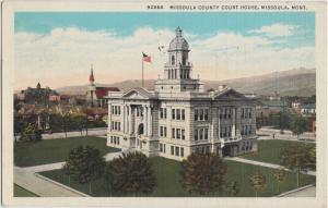 1937 MISSOULA Montana Mt  Postcard COUNTY COURT HOUSE