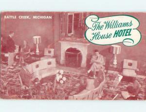 Unused 1940's WILLIAMS HOUSE HOTEL Battle Creek Michigan MI Q6513
