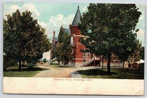 Cambridge Ohio~Children's Home & Orphanage~Lawn Swing~1908 Postcard