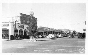 Yuma AZ Main Street McCallum Drug Store Business District Old Cars RPPC