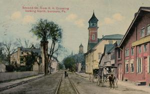 SUNBURY ,Pennsylvania , 1911 ; 2nd Street from RR Crossing