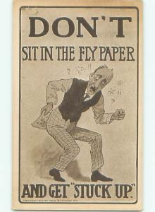 Pre-Linen Comic MAN SITS ON FLYPAPER AB9619