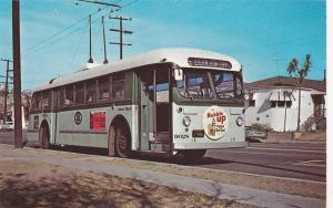 Number 9028 Trolley Car Motor Bus, Woowine Drive, Los Angeles, California, 1962
