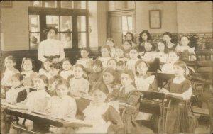 School Classroom Girls Students Teacher c1910 Real Photo Postcard