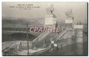 Old Postcard Paris Crue of the Seine January 1910 Flood of Marly horses at Tr...