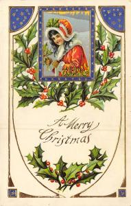 Victorian Christmas~Girl in Red White Fur Coat~Art Nouveau Gold Blue White GEL