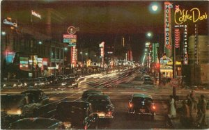 Automobiles California Marquee Hollywood Boulevard Night Postcard Mitock 20-2881