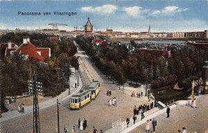 Netherlands Panorama van Vlissingen Tram Street Postcard