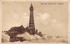Blackpool - Rough Sea, showing Tower, Turm Tour