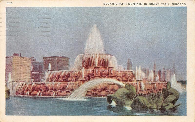 Chicago Illinois~Grant Park~Buckingham Fountain~Skyline in Background~1941 Pc