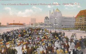New Jersey Atlantic City View Of Crowds On Boardwalk In Front Of Marlborought...