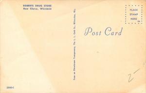 New Glarus Wisconsin~Roberts Drug Store~1950's Postcard