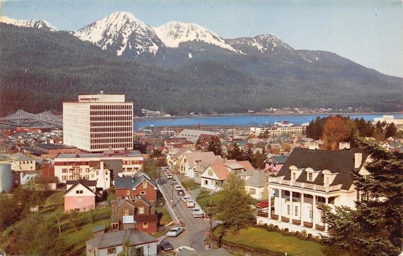 Juneau Alaska~Downtown~Birds Eye View~1950s Postcard