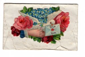 Victorian Forget Me Not Calling Card with 4 X  2 1/2 inch True Love Envelope,