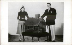 Show Performers Duo Kay & Karol Log Cabin Model House Unusual RPPC