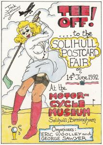 postcard TEE OFF to the Solihull Postcard Fair 1992 unposted
