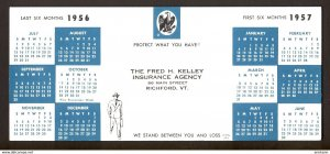 Richford, Vermont USA - 1956/1957 calendar Kelley Hartford Insurance BLOTTER