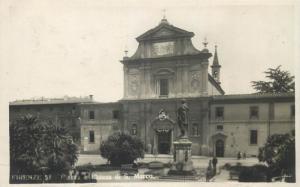 Italy Florence Firenze cartolina vera fotografia Piazza e Chiesa di S. Marco