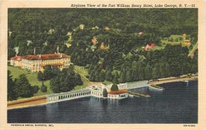 Fort William Henry Hotel Lake George New York aerial view Postcard