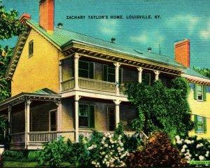 President Zachary Taylor Home Louisville Kentucky KY UNP Vtg Linen Postcard