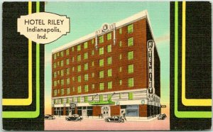 1941 INDIANAPOLIS, Indiana Postcard HOTEL RILEY Downtown Street View / MWM Linen