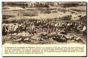 Old Postcard Panorama of the Battle of Waterloo Chateau Goumont Army