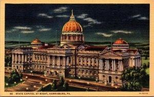 Pennsylvania Harrisburg State Capitol Building At Night Curteich