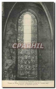 CARTE Postale Old Cathedral of Chartres E and L Stained glass inside Floor Ri...