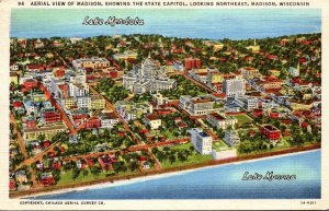 Wisconsin Madison Aerial VIew Showing State Capitol Looking Northeast 1945 Cu...