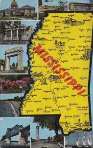 Map Of Mississippi 1954